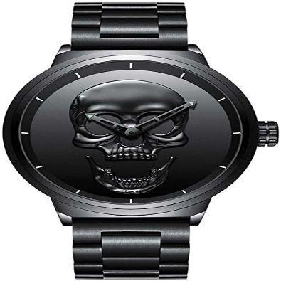 reloj color negro de calavera